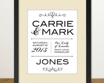 Custom Wedding/Anniversary Framed Print -- Personalized 8 x 10 print with mat in 11 x 14 frame (gray)