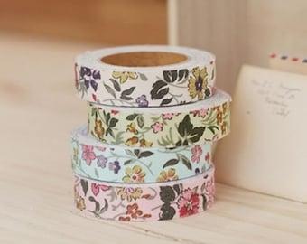 Decorative Adhesive Fabric Wild Flower Pattern Masking Tape
