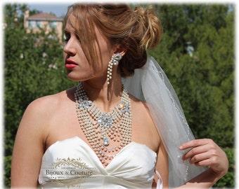Wedding jewelry set, bridal jewelry , Bridal statement, Vintage inspired bib necklace, Bridal necklace, pearl necklace,Great Gatsby jewlery