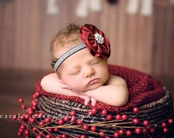 Baby Headbands - Red baby Headbands - Baby Hair Accessories - Red Headbands - Newborn Photo Props -  christmas bows -baby girl headbands.