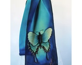 """Swallowtail Butterfly Silk Scarf. Butterfly scarf. Teal silk scarf 8""""x52"""" Hand-painted silk scarves. Handpainted silk scarf. handmade scarf"""