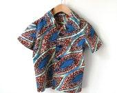 Boy's Size 3T African Wax Print Shirt -  Cotton