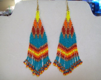 Native American Style Beaded Turquoise, Earrings Southwestern, Brick Stitch, Peyote, Gypsy, Wild,  Hippie, Boho Great Gift