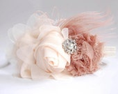 Couture rosette Headband in ivory and beige - Fabulous Photo Prop - Birthday - Baby Headband - Couture