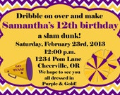 Purple and Gold Cheer / Basketball Girls Invitation Print Your Own 5x7 or 4x6