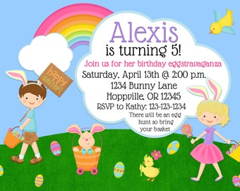 Easter Birthday Party Invitation Print Your Own 5x7 or 4x6