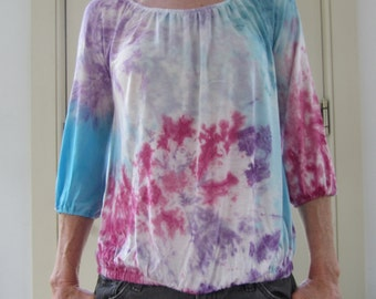 Tie Dyed Multicolor Rayon Scoop Neck 3/4 length Sleeve Shirt with Elastic neck, waste and sleeves