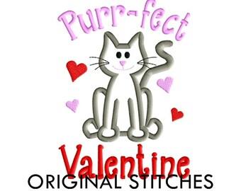 Purr-fect Cat Valentine Applique and Machine Embroidery Digital Design File 5x7 6x10