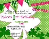 Cupcakes and Clovers Invitation printable Birthday party invite by Luv Bug Design