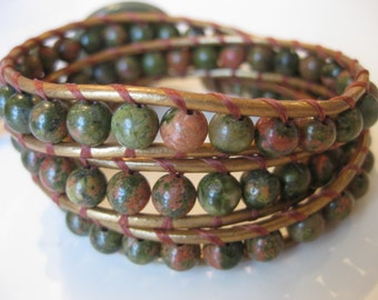 Leather Wrap Beaded Bracelet -  Multi Color Unakite Beads - Metallic Gold Leather Cord - Forest Green Button
