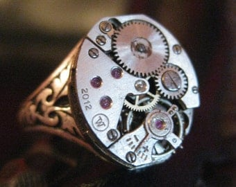 Steampunk Ring - Industrial  Vintage Ruby Jeweled Watch Part Filigree Ring