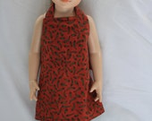 Doll Apron Red Hot Chili Peppers 18 inch American Girl Reversible Apron with Green backing and Tea Towel Arvilla Ruby