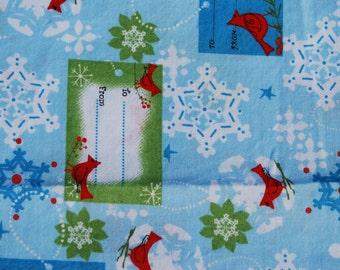 FABRIC Christmas Red Bird Name Tag