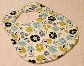 Baby Girl Blue and Green Flower Print Bib