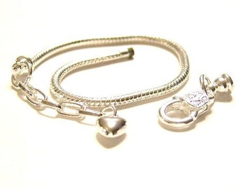 1 Silver, 22 cm,8.75 inch, Euro Charm Bracelet w/ Lobster Clasp & Heart Extender Chain - Removable End.