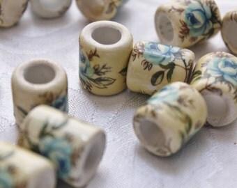 Ceramic Beads Blue Roses