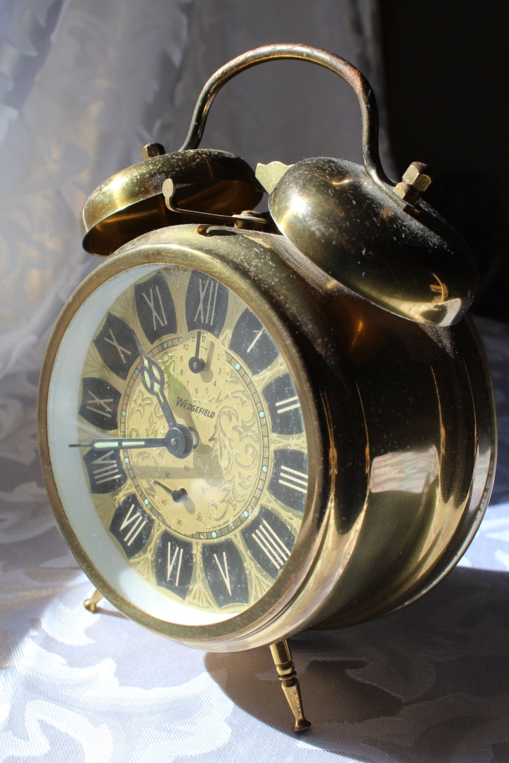 Brass Wedgefield Double Bell Alarm Clock