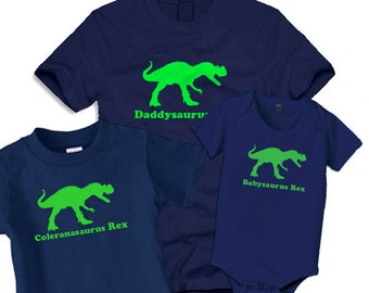 Daddy dinosaur t shirt and 2 matching kids t shirts  gift set, perfect t shirt combo for fathers day gift
