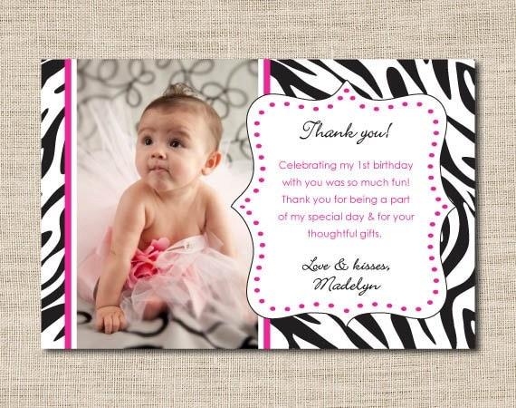 Zebra print photo thank you cards printable photo thank you – Birthday Thank You Photo Cards