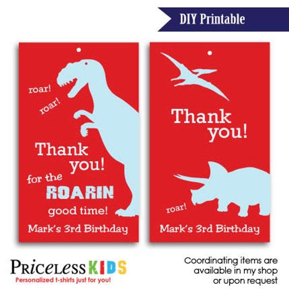 Items Similar To Printable Dinosaur Favor Tags