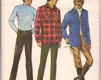 1971 Sewing Pattern Simplicity 9694 Men's shirt jacket and pants size 40 chest