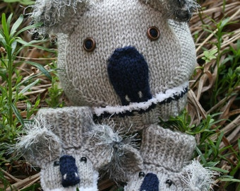 BABY KNITTING PATTERN in pdf - Koala Bear Baby Hat and Booties