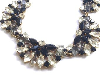 Art Deco Style Black & White Statement Necklace Czech Bridal Retro Mad Men Catwalk Fashion Jewelry