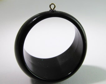 2 Vintage 40mm Glossy Black Lucite Hoop Pendants Pd449
