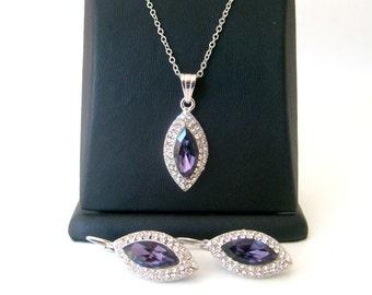 Rhinestone crystal wedding jewelry set 925 sterling silver chain wedding jewelry bridal jewelry set bridesmaid gift