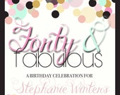 Confetti Invitation, printable Baby Shower invitation, Forty and Fabulous Invites, Fifty and Fabulous invites, Invitations