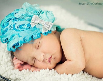 Turquoise Blue feather pad headband