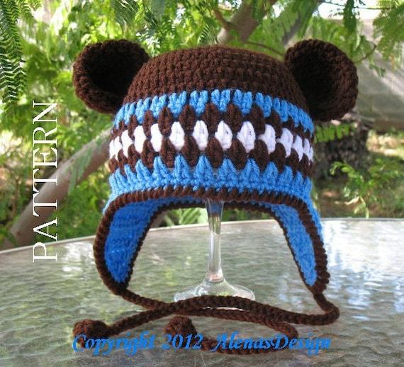 Crochet Pattern 053 - Hat with Bear Ears - Ear Flap Hat Baby Boy Baby Girl Toddler Children Winter Hat Mittens Booties Bear Ears Brown Hat