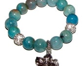 20% OFF Tahiti - Turquoise Crazy Lace Agate Gemstone, CZ Pave Ball, and Flower Charm Bracelet. Great to Wear in a STACK