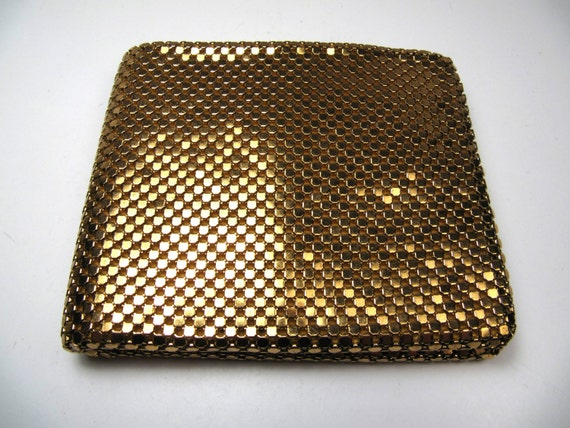 Vintage West German Germany Gold Mesh Wallet Black Taffeta Lined Mint Condition