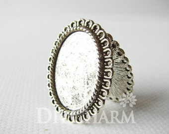 Antique Silver Cameo Cabochon Base Settings 34x28mm ( Inner Size 26x19mm ) - 2Pcs - DS23457