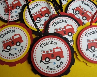 Fire Truck Thank You Tags Personalized (set of 12)