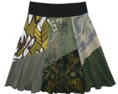 Boho Chic Hippie Skirt Women's Medium Large upcycled t-shirt clothing from Twinkle
