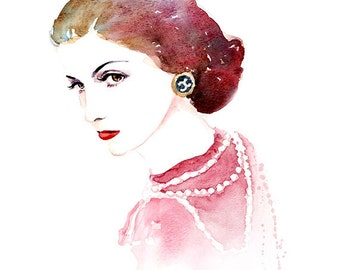 Coco Chanel Watercolor Portrait painting - Pink Red