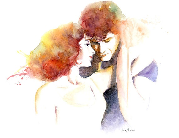 Watercolor painting - Johnny and Baby - Dirty Dancing Movie