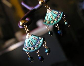 Ornate Emerald Dark Green and Gold Chinese Fan Earrings