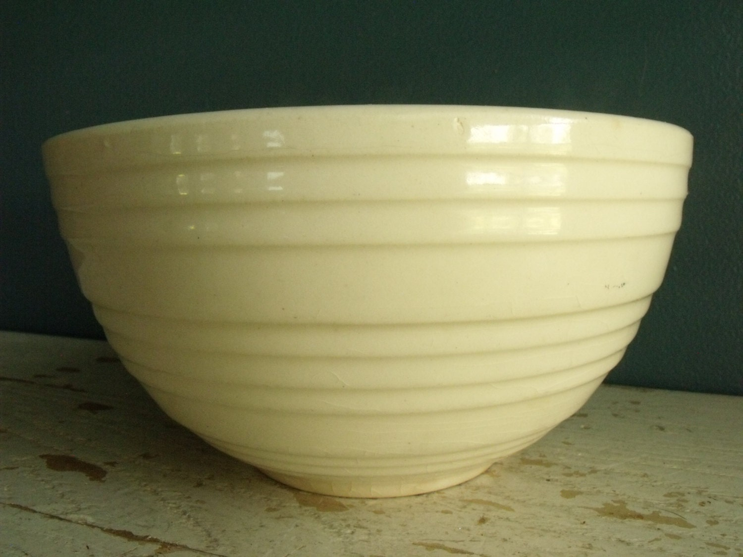 Mccoy Cream White Bowl Ribbed 7 Pottery