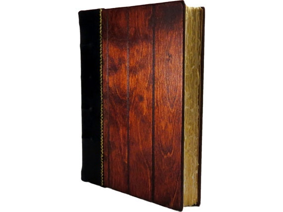Large Wood and Leather Bound Guest Book - perfect wedding guest book or executive gift.