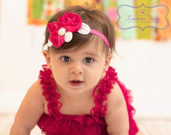Imperial Lace Chiffon Applique Headband with Pearls