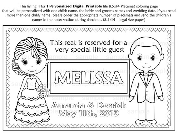 PRINTABLE Personalized Wedding Favor Placemat By