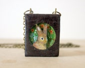 Field Rabbit- Hand Painted inlaid rabbit necklace - illustrated - iamabird