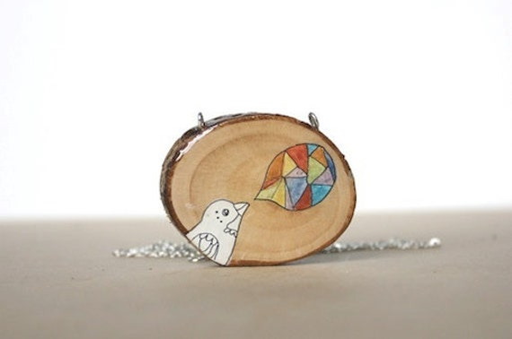 Playful Bird Necklace - Rainbow spring time fashion necklace - wood slice