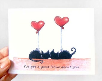 Funny Card, Black Cat Greeting Card, Anniversary Card, Valentine's Day, I Love You