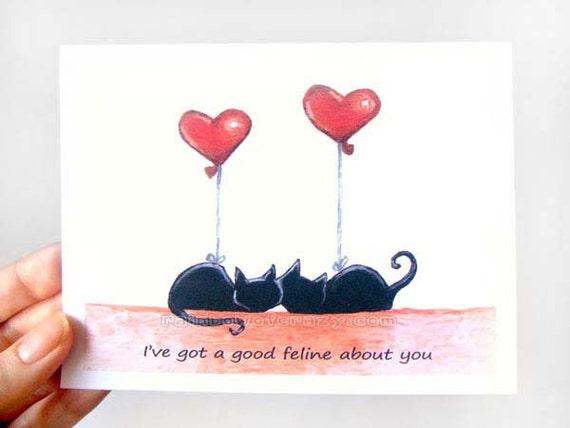 Funny Card Black Cat Greeting Card Anniversary Card