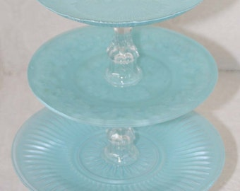 Blue Shabby Chic Three Tier Vintage Reclaimed Cupcake Stand Made To Order