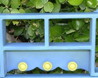 Periwinkle Blue With Lemon Yellow Knobs Vintage Shelf